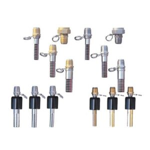 "Swivel adapter (1/2"" NPT x 5/8"" hose barb, ball type), brass & 300 series stainless steel"